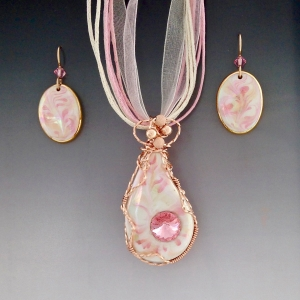 Porcelain Wire Wrapped Pendant Set ~ Pink Teardrop