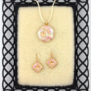 Pink Pendant & Earring Set